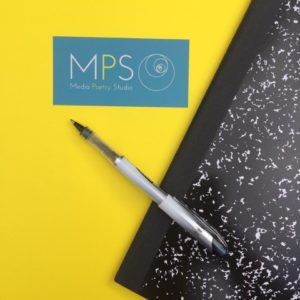 Media Poetry Studio logo with pen and notebook