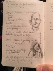 Mark Doty and Jane Hirshfield illustrations with notes by attendee Jenny Linn Loveland.