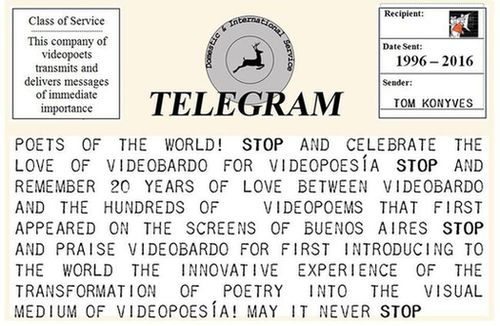 Telegram/postcard from Tom Konyves urging attendance at Videobard's 20th anniversary festival of videopoetry
