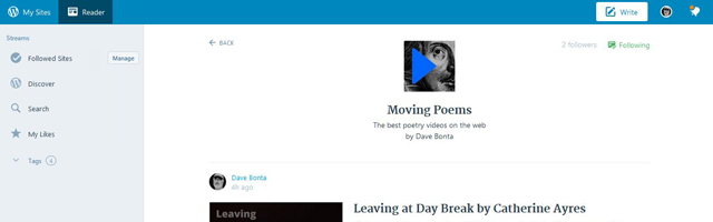 A screnshot of Moving Poems as it appears in the WordPress.com Reader.