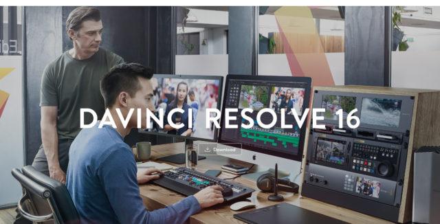 DaVinci Resolve download page screenshot